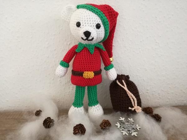Häkelanleitung Eisbär Manni Als Weihnachtself