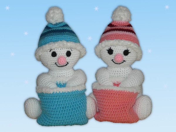 Crochet Pattern Snowman Or Snowgirl With Santas Bag