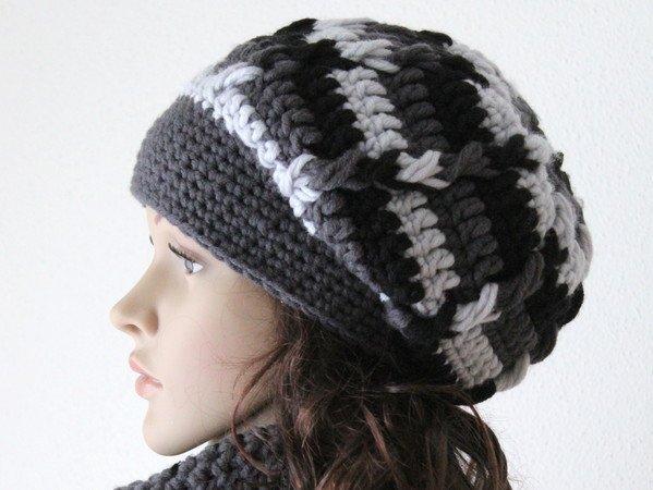 Mütze Häkeln Schwarz Grau