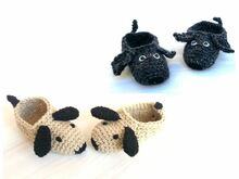 "Crochet Pattern Children Slippers ""Doggy"", floppy ear, dachshund, sizes children 7-13 (EU 23-31)"