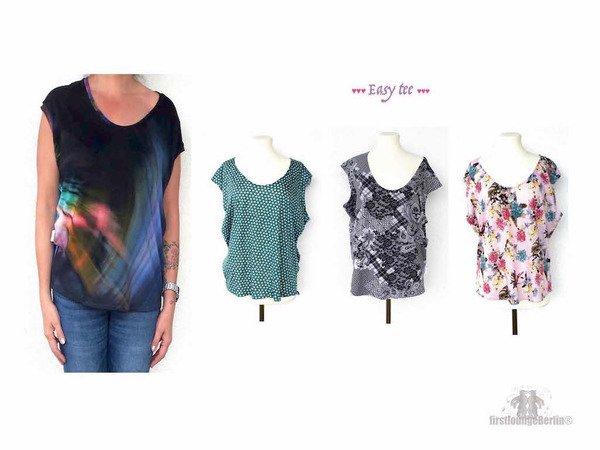 Easy tee *** freEBook Shirt in 7 Größen XS-L/XL GRATIS Schnittmuster ...