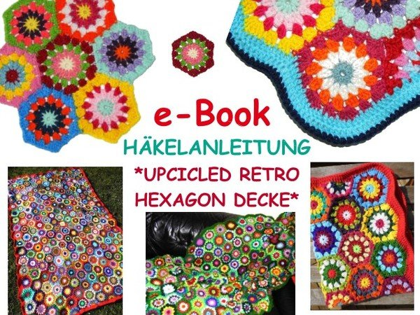 E Book Decke Afghan Upcicled Retro Hexagon Häkelanleitung Pdf