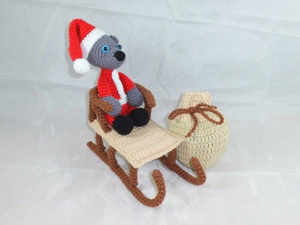 Weihnachtsmann Teddy Mit Schlitten Sack Häkelanleitung