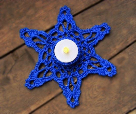 Häkelanleitung schneeflocke teelichthalter