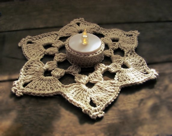 Crochet snowflake candle coaster, tealight holder