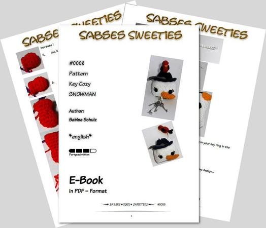"Crochet instruction E-Book key cozy ""Snowman"" #0008 Sabses Sweeties english"
