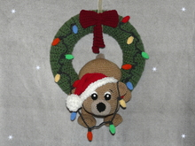 Crochet Pattern Christmas Door Wreath clumsy teddy