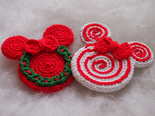 Set of the 6 Christmas Ornaments - Mickey and Minnie Mouse.