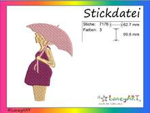 "Stickdatei ""schwangere Frau"" Pes Format (Deco, Brother, Babylock)"