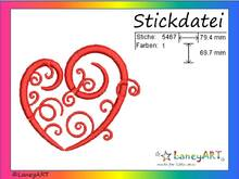 "Stickdatei ""Herz - Love - Liebe - Schnörkel"" Pes Format (Deco, Brother, Babylock)"