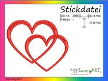 "Stickdatei ""Herzen - Love - Liebe"" Pes Format (Deco, Brother, Babylock)"