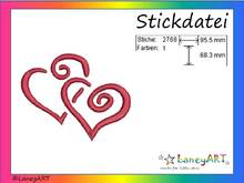"Stickdatei ""Hearts - Love - Herzen"" Pes Format (Deco, Brother, Babylock)"