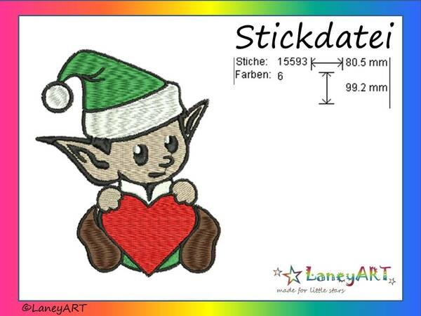 "Stickdatei ""Wichtel"" Pes Format (Deco, Brother, Babylock)"