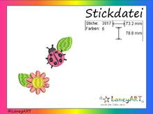 "Stickdatei ""Käfer & Blume"" Pes Format (Deco, Brother, Babylock)"