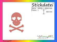 "Stickdatei ""Totenkopf Pink"" Pes Format (Deco, Brother, Babylock)"