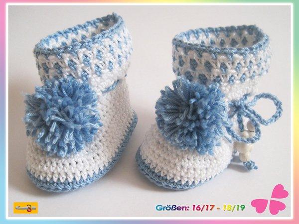 Babyschuhe Häkeln Stiefel Mit Pompons