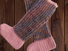 Ladies Over Knee Crochet Slipper Socks Pattern