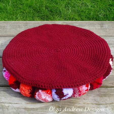 Pompom Rugchair Seat Cushion Crochet Pattern 064