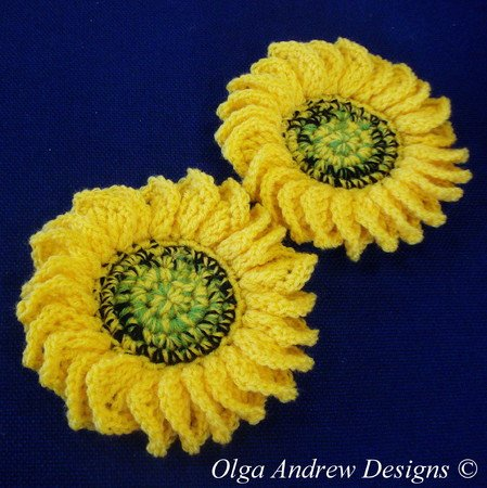Sunflower doily and coasters crochet pattern 051