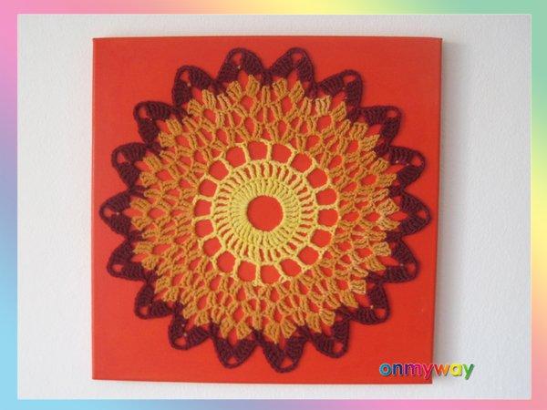 Mandala häkeln & Kerzen-Deko häkeln - Häkelbild selber machen