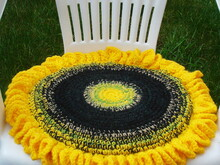 Sunflower chair seat cushion crochet pattern 043