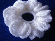 Wedding scrunchie Camomile/Daisy crochet pattern 016