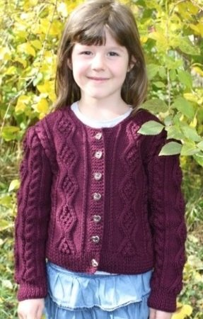 Sophia - Short Cable Cardigan for girls 4-14 years, Sizes 116-140 (EU) resp. 6-10 (US)