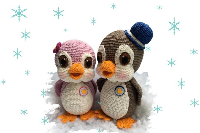 Pinguin Sally and Buck Pattern Amigurumi PDF Deutsch - English