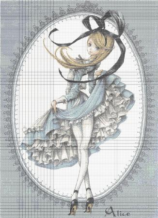 Cross stitch pattern:: Alice wonderland