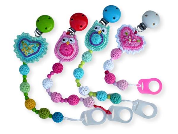 Hervorragend Schnullerkette häkeln / Perlen, Eule und Herz DX79