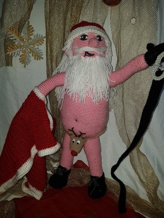 Crochet pattern Stripping Santa Claus (60 cm tall)