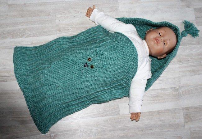 Strickanleitung Baby Schlafsack Schlupfsack Mit Eulenmotiv Ca 0