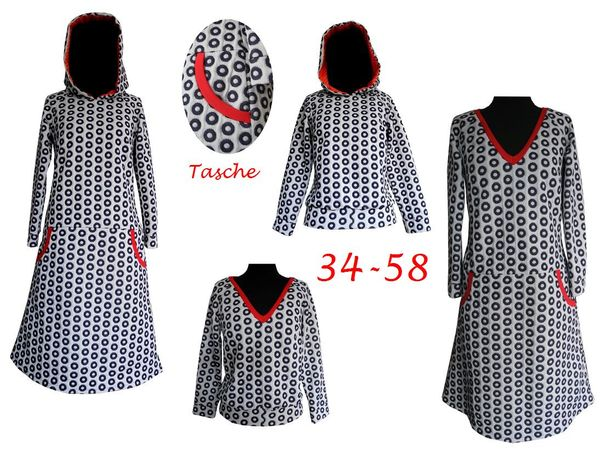Schnittmuster +Bild Nähanleitung 4 Modelle Kleid/Pullover