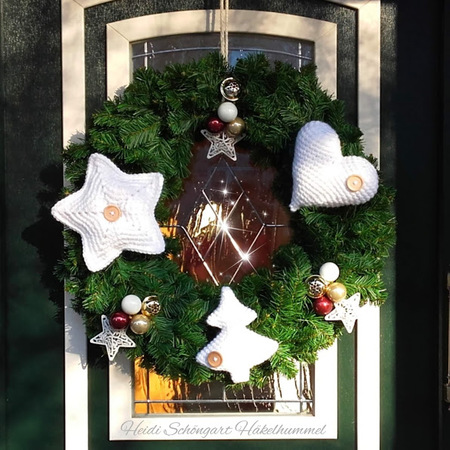 Weihnachtsstern Für Tannenbaum.Türkranz Mit Weihnachtsstern Glücksherz Weihnachtsbaum 3in1 Häkelanleitung