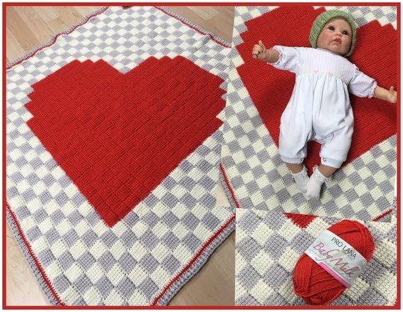 Babydecke mit Herz tunesisch Häkeln