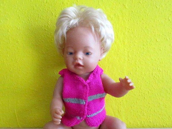 Sicherheitsweste für Babypuppen und andere Puppen- Strickanleitung