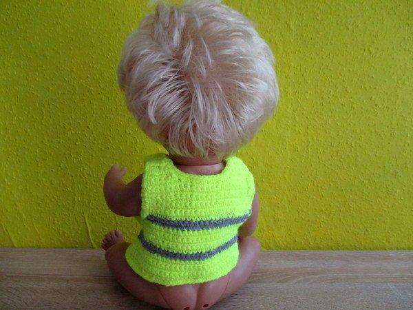 Sicherheitsweste für Babypuppen und andere Puppen- gehäkelt