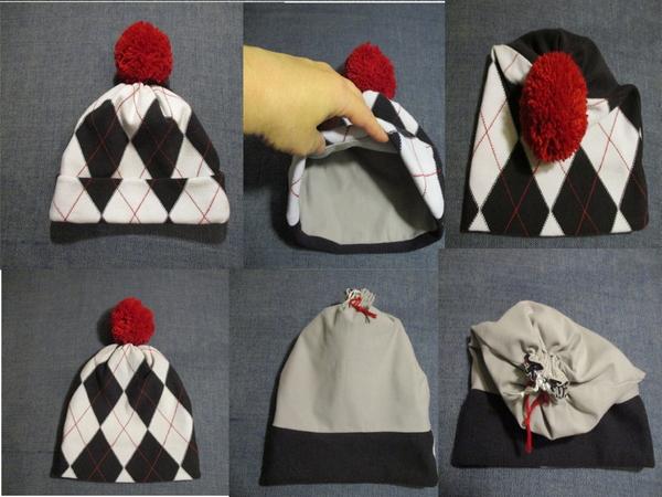 Winter Beanie Mütze mit Futterstoff Schnittmuster