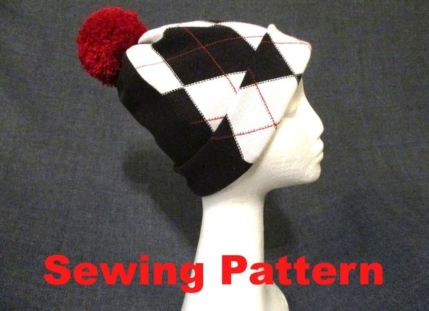 winter beanie hat with pom pom sewing pattern