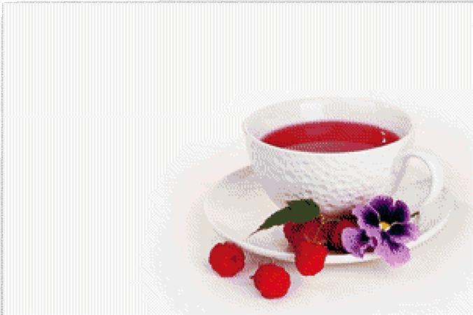 Cross stitch pattern:Tea with Raspberry