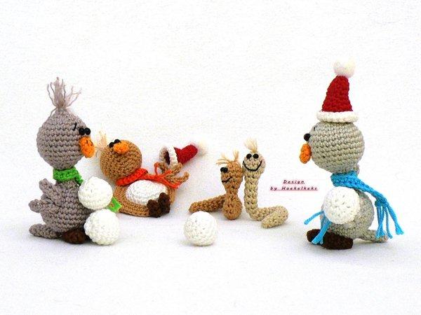 Sneeuwpop Vogel Worm Haken