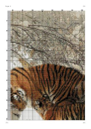 Cross stitch pattern Tiger with baby tiger