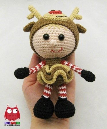 133 Crochet Pattern - Girl doll in a Reindeer outfit - Amigurumi PDF file by Stelmakhova