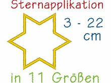 Sternapplikation in 11 Größen Stickdatei