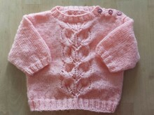 Anleitung Baby-Pullover rosa Gr. 68/74
