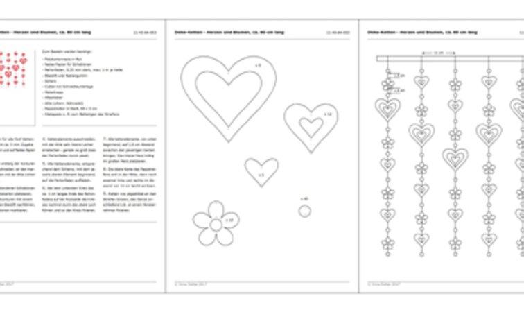 Deko-Ketten - Herzen und Blumen - Bastelanleitung mit Vorlagen