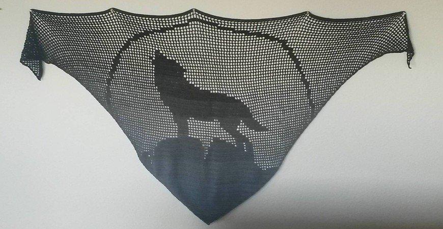 Dreieckstuch Häkeln Motiv Heulender Wolf