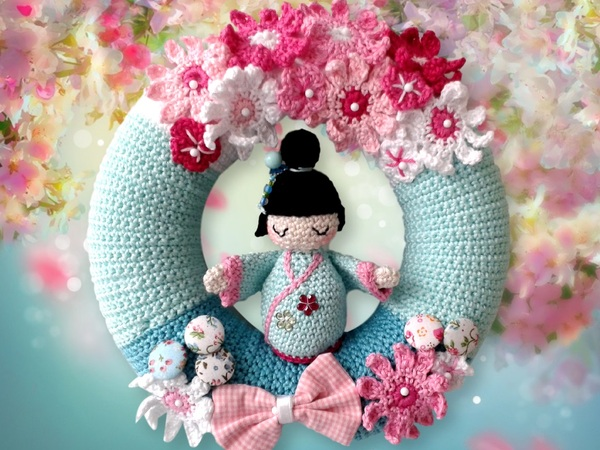 Cherry Blossom - Crochet Door wreath