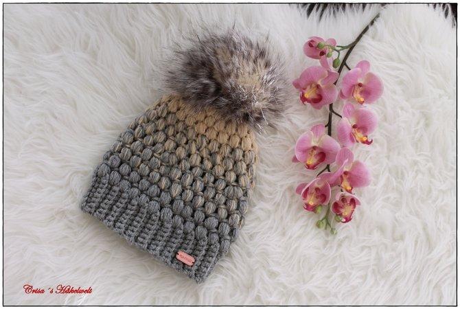 Mütze häkeln // mit Bommel und Büschelmaschen