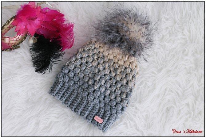 Mütze Häkeln Mit Bommel Und Büschelmaschen